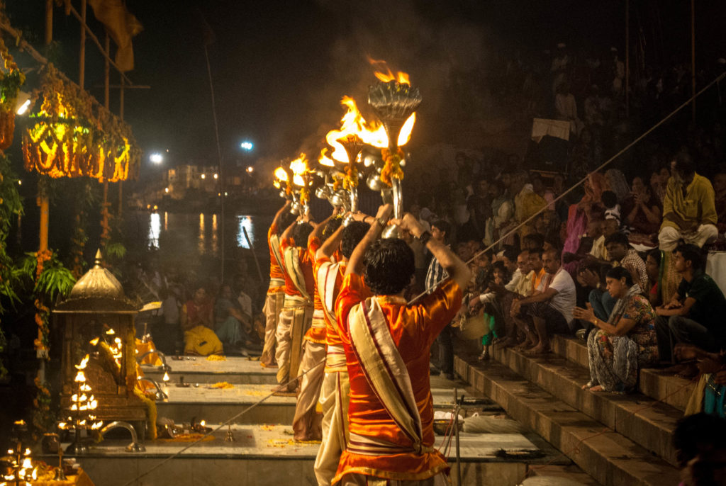 Images of worship at varanasi ghats